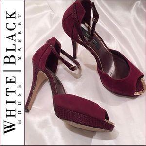 WHBM Burgundy Peep-Toe Suede & Snakeprint Heels